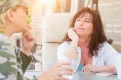 Dos amigos femeninos que disfrutan de la conversación afuera Imagen de archivo libre de regalías