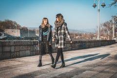 Dos amigos femeninos que tienen paseo en la calle imagenes de archivo