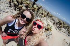 Dos amigos femeninos toman un selfie en el jardín del cactus de Cholla en Joshua Tree National Park foto de archivo libre de regalías