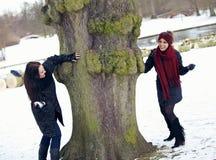 Dos amigos juguetones que disfrutan del invierno al aire libre Foto de archivo