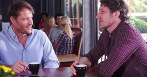 Dos amigos masculinos maduros que se sientan en la charla de la cafetería almacen de metraje de vídeo