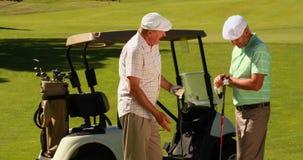 Dos amigos masculinos que charlan en el campo de golf por su kart almacen de video