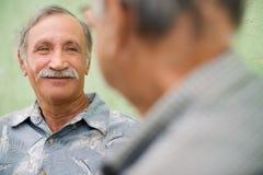 Dos amigos mayores que se encuentran y que hablan en parque Imagen de archivo libre de regalías
