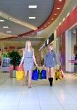 Dos amigos que caminan con hacer compras de los panieres Imagen de archivo libre de regalías