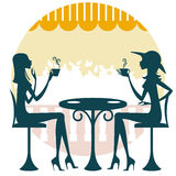 Amigos que comen café o té Stock de ilustración