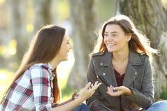 Dos amigos que hablan y que ríen en un parque Fotos de archivo libres de regalías