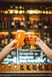 Dos amigos que tuestan con los vidrios de cerveza ligera en el pub Fondo hermoso del grano fino de Oktoberfest fotografía de archivo libre de regalías