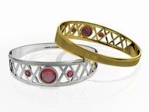 Dos anillos con la gema roja Imagen de archivo