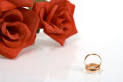 Dos anillos de bodas Fotografía de archivo libre de regalías
