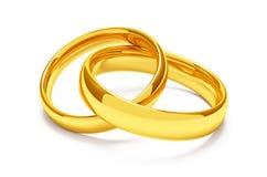 Dos anillos de bodas del oro Imagen de archivo libre de regalías