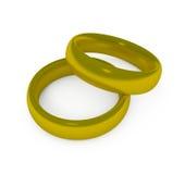 Dos anillos de bodas del oro Imágenes de archivo libres de regalías
