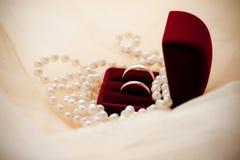 Dos anillos de bodas en un rectángulo imágenes de archivo libres de regalías