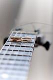 Dos anillos de bodas están en rayas de la guitarra imagen de archivo