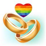 Dos anillos de bodas gay ilustración del vector