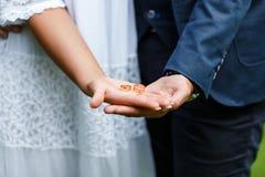 Dos anillos de bodas de oro en las palmas del ` s de novia y del novio Anillos de bodas en la palma La novia y el novio llevan a  Foto de archivo