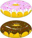 Dos anillos de espuma hermosos con la formación de hielo y el chocolate asperjados con los caramelos, en un fondo aislado ilustración del vector