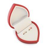 Dos anillos en una caja para los anillos en un fondo blanco representación 3d Imagen de archivo libre de regalías