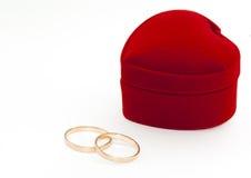 Dos anillos y rectángulo rojo Imagen de archivo libre de regalías