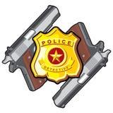 Dos arma de mano, insignia Foto de archivo libre de regalías