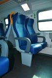 Dos asientos azules del tren Imágenes de archivo libres de regalías