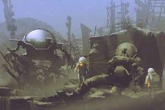 Dos astronautas encontraron a un astronauta muerto stock de ilustración