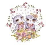 Dos búhos lindos de la acuarela en guirnalda de la flor del círculo ilustración del vector