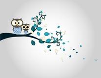 Dos búhos lindos en una silueta de la rama de árbol Fotografía de archivo