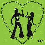 Dos bailarines del hippie, ejemplo retro de años 60 Imágenes de archivo libres de regalías
