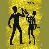 Dos bailarines del jazz, ejemplo de años 20 Imagen de archivo