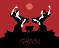 Dos bailarines españoles del flamenco que bailan danza típica del español libre illustration