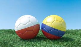 Dos balones de fútbol en colores de las banderas ilustración del vector