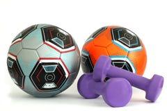 Dos balones de f?tbol Equipo de deportes imágenes de archivo libres de regalías