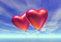 Dos baloons en forma de corazón Fotografía de archivo