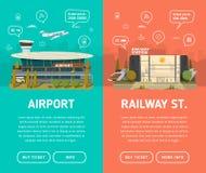 Dos banderas Aeropuerto y ferrocarril Fotos de archivo libres de regalías
