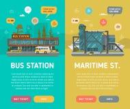Dos banderas Autobús y estación marítima Imagen de archivo libre de regalías