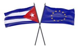 Dos banderas cruzadas ilustración del vector
