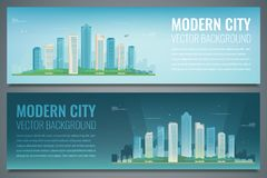 Dos banderas de la ciudad Día y noche paisaje urbano Ciudad moderna Vector stock de ilustración