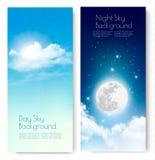 Dos banderas del cielo que ponen en contraste - día y noche Fotografía de archivo libre de regalías
