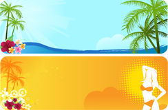 Dos banderas del verano stock de ilustración
