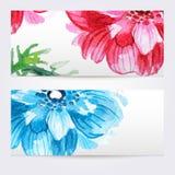 Dos banderas florales de la acuarela con las anémonas Imágenes de archivo libres de regalías