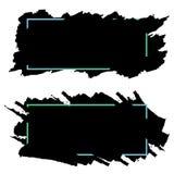 Dos banderas negras, jefes de los movimientos del cepillo de la tinta, sistema del vector libre illustration