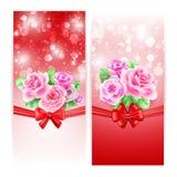 Dos banderas que brillan intensamente con las rosas Fotos de archivo libres de regalías