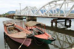 Dos barcos de Camboya, Kampot Imagen de archivo libre de regalías