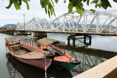 Dos barcos de Camboya, Kampot Fotos de archivo libres de regalías