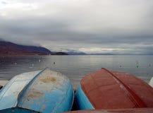 Dos barcos - Ohrid Foto de archivo libre de regalías
