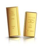 Dos barras de oro con la reflexión Imágenes de archivo libres de regalías