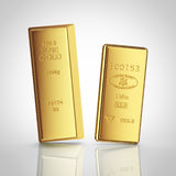 Dos barras de oro con la reflexión Fotografía de archivo libre de regalías