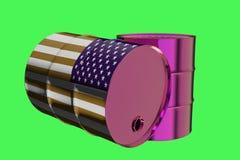 Dos barriles de aceite industriales del metal con la representación de la bandera 3D de los E.E.U.U. libre illustration