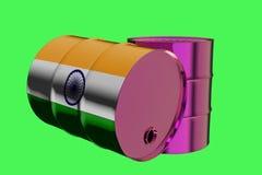 Dos barriles de aceite industriales del metal con la representación india de la bandera 3D libre illustration