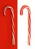 Dos bastones de caramelo de la Navidad Fotos de archivo